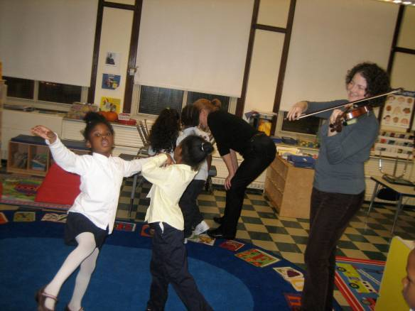 These Kindergartners began dancing spontaneously while I was playing