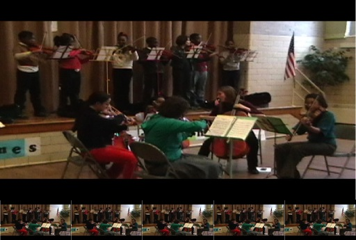 The Fourth Grade string players joined the BPQ for Deep River